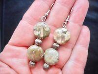 Vintage Silver Tone Green Poppy Agate Natural Stone Pierced Earrings