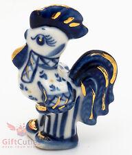 Rooster in shirt gzhel porcelain figurine handmade
