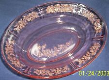 FEDERAL GLASS CO. SHARON CABBAGE ROSE PINK OVAL VEGETABLE or SERVING BOWL!