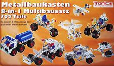 TRONICO Metallbaukasten 8in1 702 Teile Baukasten sicheres Spielzeug Multibausatz
