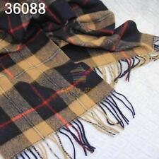 New Mens Warm Soft Cashmere wool plaid TARTAN SCARF Checked Scarf Beige 36088