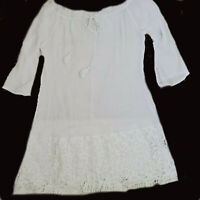 White Tunic Top Sheer Lace Hemline Trim Fringe 3/4 Length Sleeve Ties Neck L