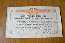 FRANCIA BANQUE DE FRANCE VERSEMENT D' OR POUR LA DEFENSE NATIONAL BILLETS 1915