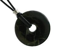 Unisex 30mm Shungite Donut Gemstone Pendant Necklace Leather Cord Protection