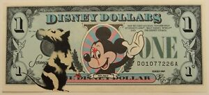 Dismaland Dollar by Lewis Bannister (Copymenot) Hand sprayed on Disney Dollar