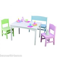KidKraft Seating Area Nantucket with Table Bench + Two Chairs 26112 Pastel