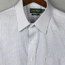 Lauren Mens Classic Button Non-Iron Blue White Button Shirt 17 ½ 32-33 #J0020