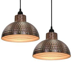 2 Lampadari lampade a sospensione bar cucina Semisferici in metallo Color Rame