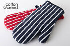 100% Cotton Butcher Stripe Kitchen Apron Quilted Single Double Oven Gloves Mitts