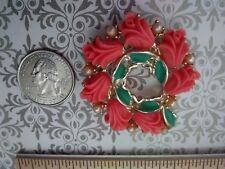 Vintage flamingo resin flowers, pearls and green enamel pin brooch