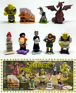 SHREK 4 COMPLETE SET OF 9 FIGURES WITH ALL PAPERS KINDER SURPRISE 2010