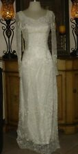 New Jessica McClintock Ivory Wedding Gown Lace Long Sleeves Low Price 4