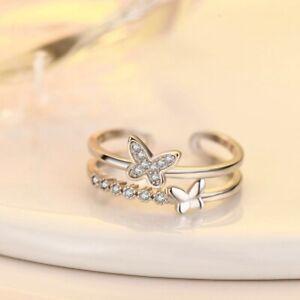 Beautiful Crystal Butterfly Adjustable Ring 925 Sterling Silver Women Jewellery