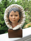 Vintage Cybis Porcelain Eskimo Child Snow Bunting Figure.Hand painted