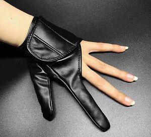 Womens Punk Rock Short Leather Motorcycle Biker Driving Two Finger Dancer Gloves