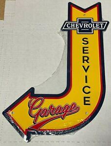 """Chevy Service Garage ~ 18"""" x 12""""  Metal J-Bent Arrow Sign, Man cave Embossed"""