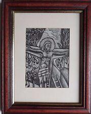 """Armando Pizzinato 1910-2004 ORIGINALE FIRMATO scaperboard 'crucifixtion SCENA"""""""