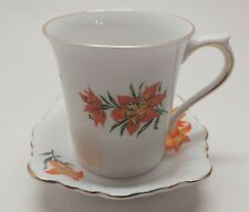 Vintage Queen's Tiger Lily Fine Bone China Teacup Saucer Set Rosina China Co.