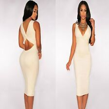 Sz 8 10 Ivory Faux Suede Sleeveless Bodycon Cocktail Party Slim Fit Midi Dress