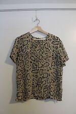 Vintage HALSTON 70s 100% Silk Snake Print Blouse Size 12 Short Sleeve