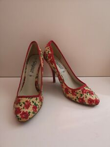 """New Look Cream Floral Round Toe 3.5"""" High Heel Shoes - Size UK 6 (267)"""