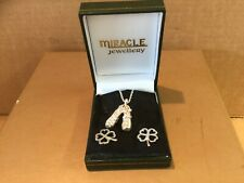 Miracle Jewllery Set Silver  Irish Dance Shoes & Shamrock Earings