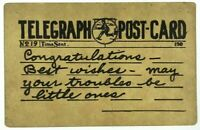 1900's Telegraph Postcard Congratulations Best Wishes No 19 Time Sent Vintage