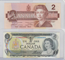 Bank Of Canada $1.00 One Dollar Bill 1973 & 1986 $2 Two Bill Both Last Issue