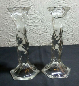 Pair Vintage Pressed Glass Candlesticks Taper Dinner Candle Holders 17.5cm Tall