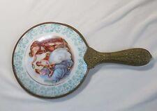 New listing Antique Porcelain Hand Mirror Classical Couple Scene Wreath