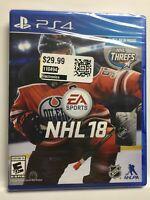 NHL 18 (PS4,Sony PlayStation 4, 2017) Hockey, Brand New Factory Sealed! USA!