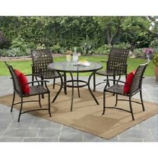 5 Piece Patio Dining Set Outdoor Steel Chairs Deck Table Brown Garden Furniture
