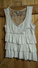 """Pretty White Lacey Frilled Top By New Look Size 10 Chest 34"""" Pretty Lace Rose"""