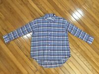 Madewell Women's Plaid Textured 3/4 Sleeve Button Down Blouse Shirt Top Size XS