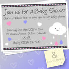 10 PERSONALISED BABY SHOWER INVITATIONS BOY / GIRL & ENVELOPES SHOWER WITH LOVE