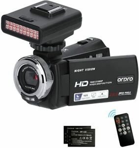 ORDRO HD Camcorder Video Camera IR Night Vision Vlogging Recorder for YouTube