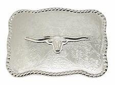 American Western Belt Buckle Longhorn Bull Steer Cow Design Cowboy Chrome Finish
