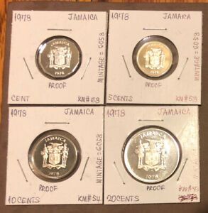 1978 JAMAICA SET OF 4 PROOF COINS~1,5,10,20 CENTS-MINTAGE =6058~COMBINED S&H
