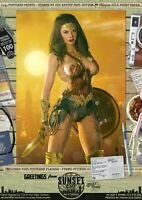Wonder Woman SEXY Gal Gadot Justice League DC Comic A3 Print 'Sunset City' 1984