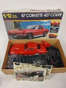 Vintage Monogram 1967 Chevy 427 CORVETTE 3'n1 1/12 MODEL KIT Partially Made