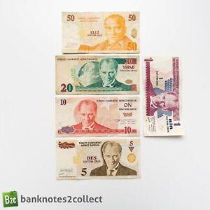 TURKEY: Set of 5 Turkish Lira Banknotes.