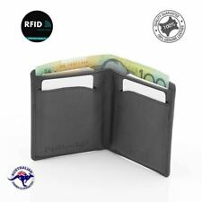 RFID Genuine Men's Soft Leather Small Slimmest Wallet Takes 12 Cards