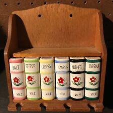 Vintage Americana Kitchen 6 Cooking Condiment Herb Spice Rack Set Flower Books