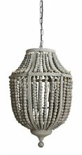 Gray Aged Iron and Wooden Bead Chandelier Hanging Light Fixture Wood