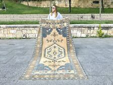 VINTAGE NATURAL OUSHAK RUG WITH TRIBAL DESIGN STYLE LOW PILE WOOL HANDMADE RUG