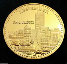 9/11 Gold Coin Medal World Trade Centre Americana 911 Remember Liberty Freedom
