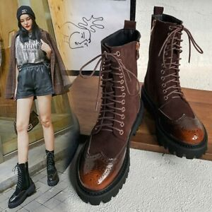 Womens Ladies Fashion Leather Two Tone Lace Up Combat Ankle Boots Shoes MKMG