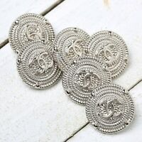 Chanel Buttons 6pc CC Silver20mm Vintage Style unstamped 6 Buttons AUTH!!!