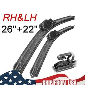 "Front Windshield Wiper Blades 22""26"" High Quality Direct Connect Hook Frameless"