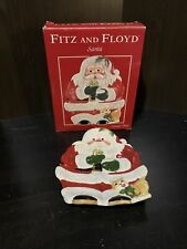 Vintage Fitz And Floyd Santa Canape Plate Santa Eating A Cookie With Kitty